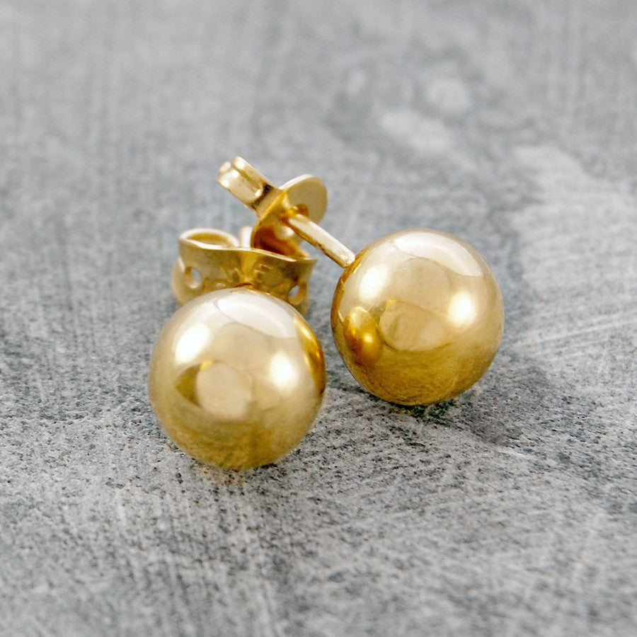 Large Silver Ball Stud Earrings
