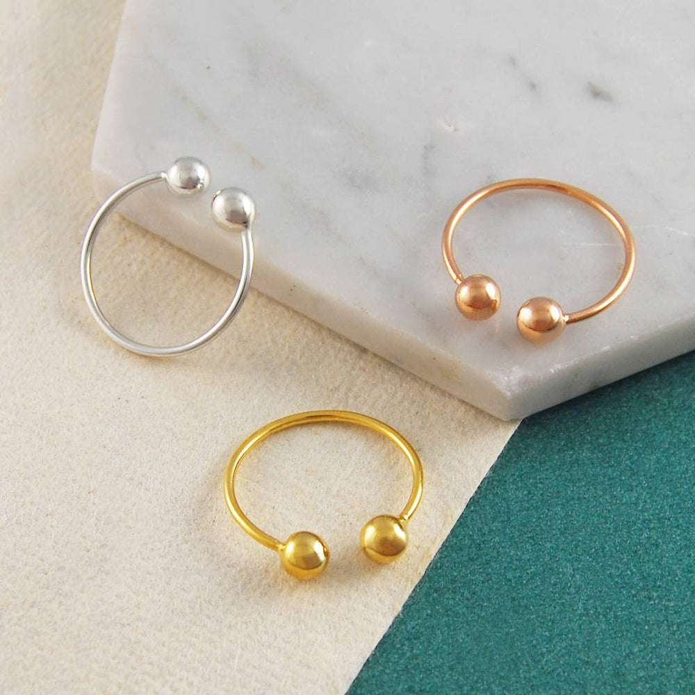 Double Ball Adjustable Silver And Gold Ring