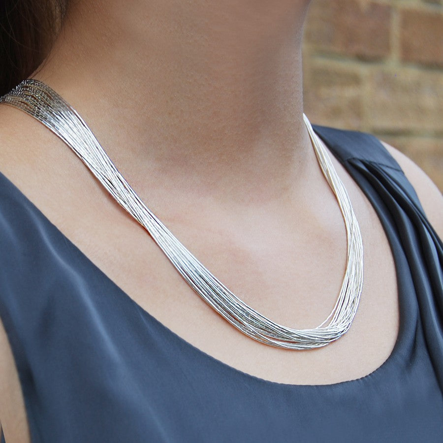 Layered Silver Necklace - 20 Strands
