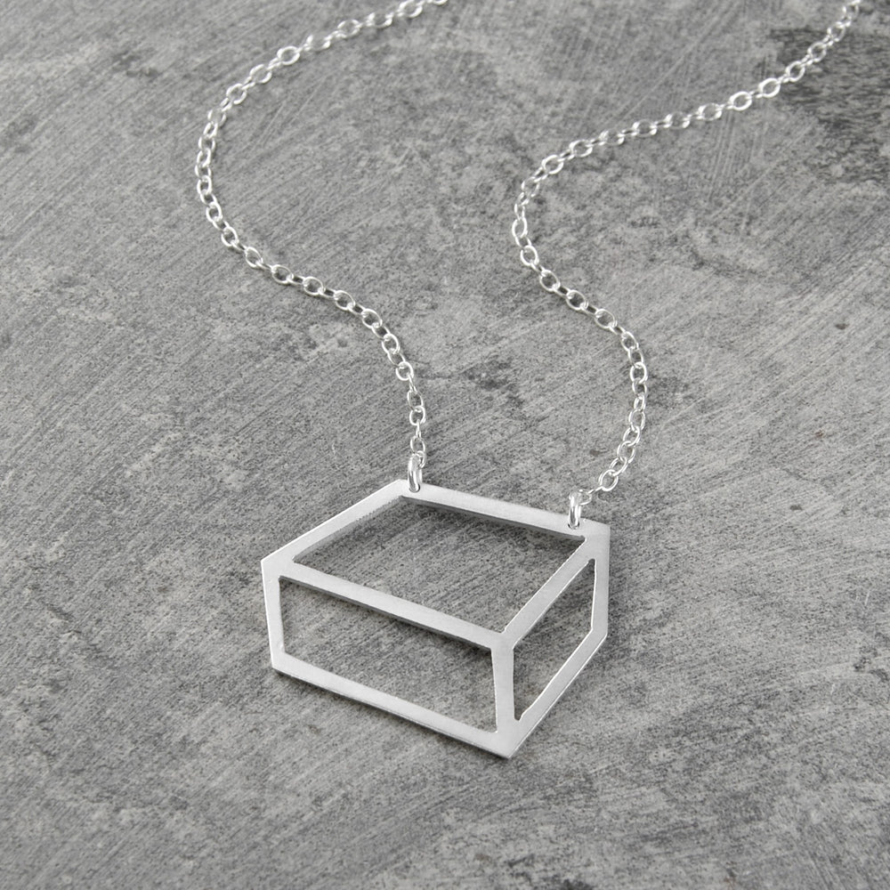Rectangular Outline Geometric Silver Necklace