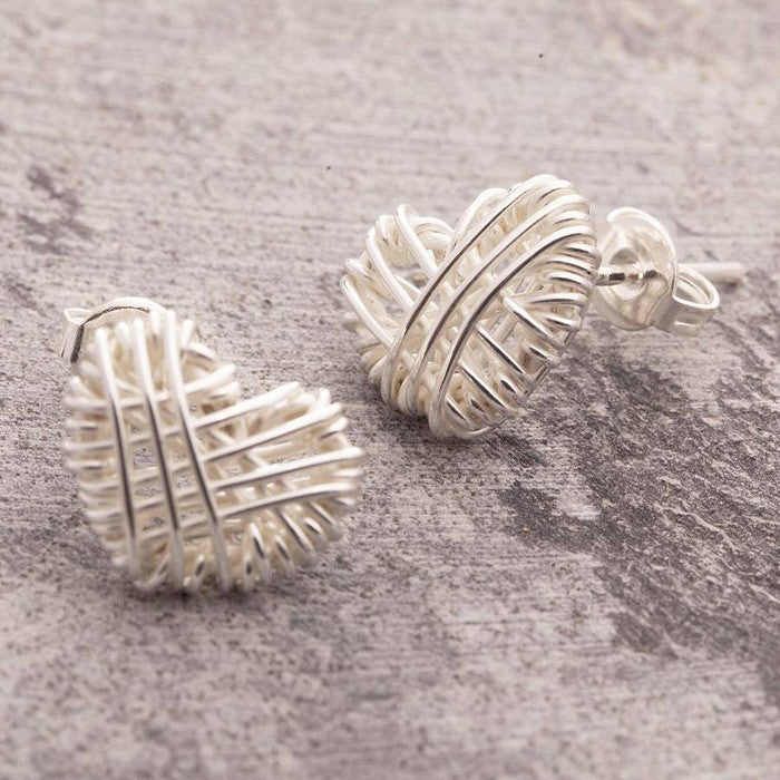 Woven Heart Silver Stud Earrings