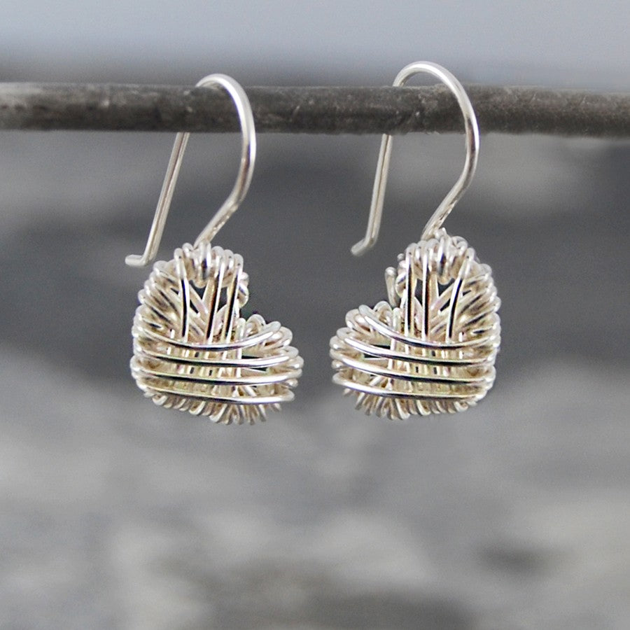 Silver Woven Heart Drop Earrings