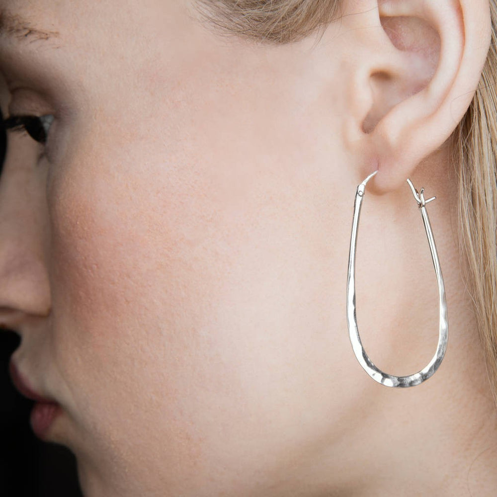 Oval Battered Silver Hoop Earrings - Otis Jaxon Silver Jewellery