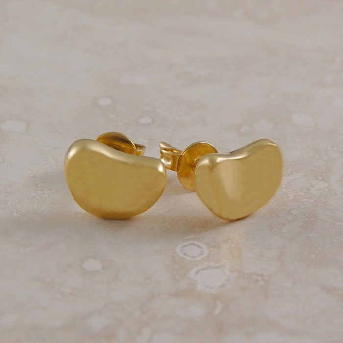 Bean Gold Stud Earrings
