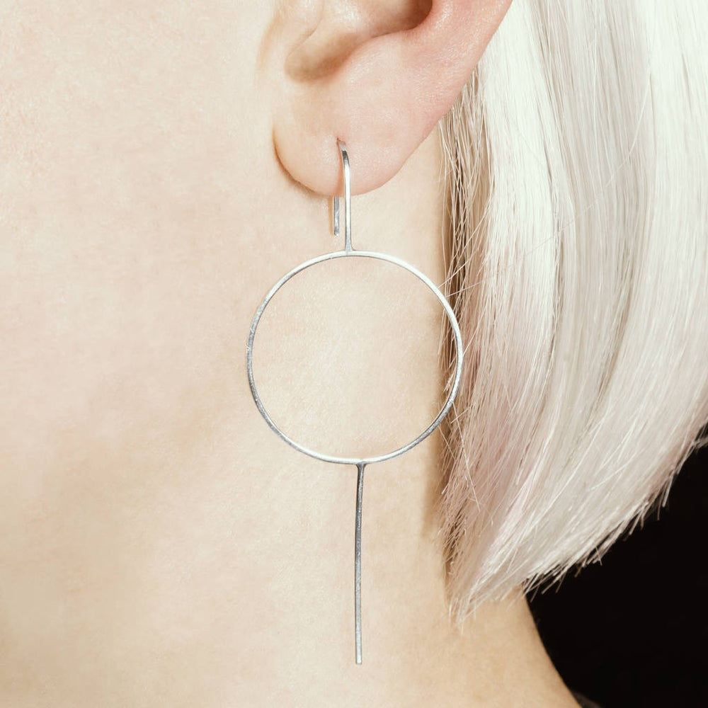 Sterling Silver Circle Long Drop Earrings - Otis Jaxon Silver Jewellery