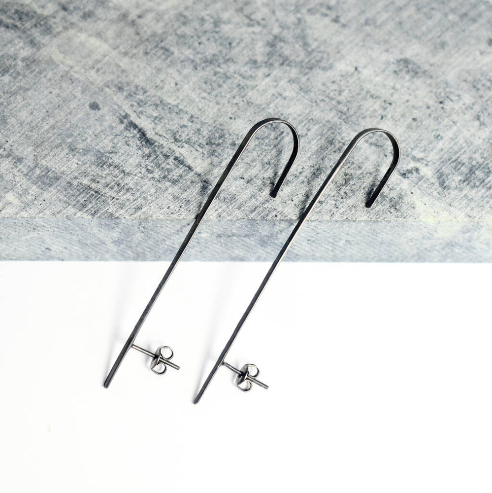 Black Oxidised Silver Bar Ear Cuff - Otis Jaxon Silver Jewellery