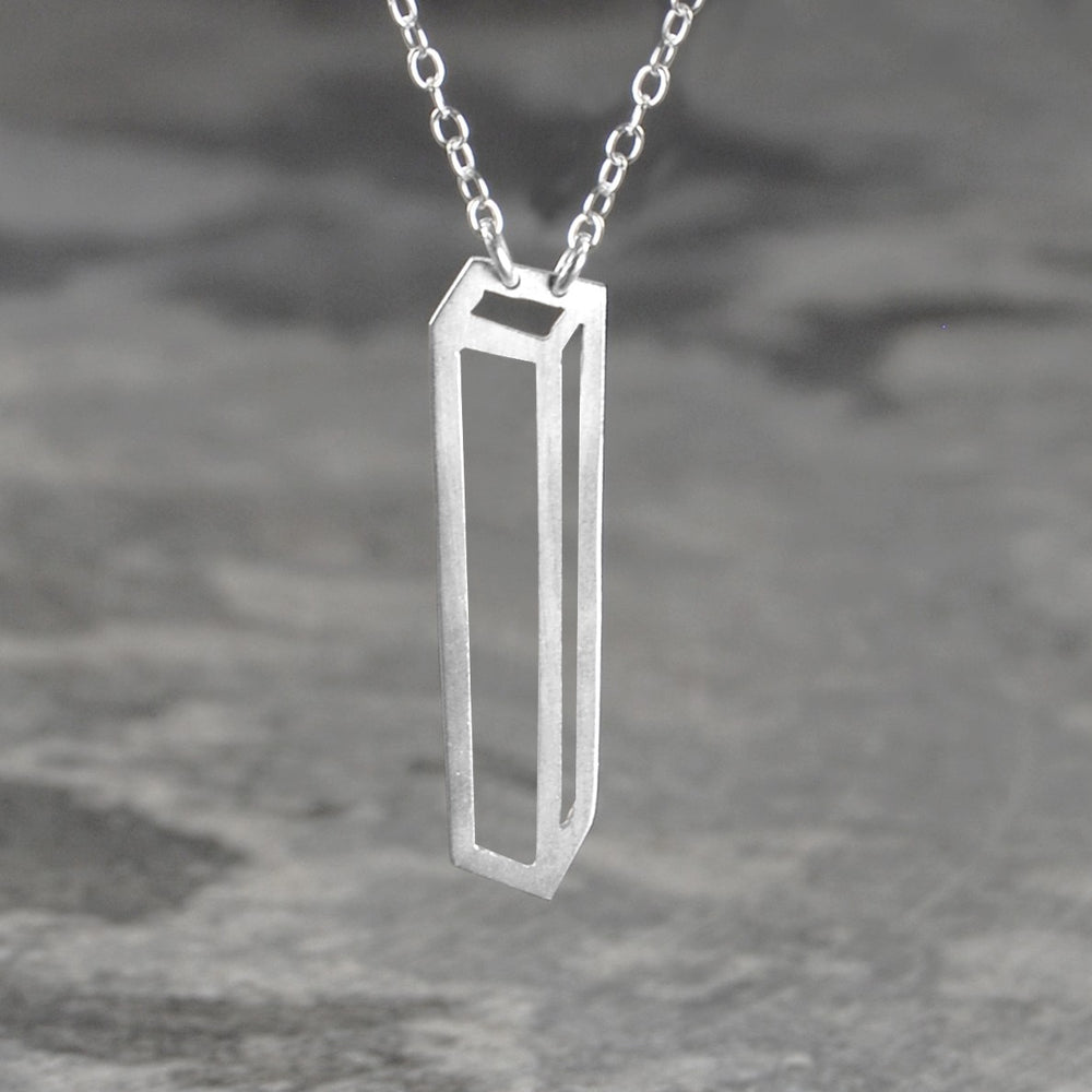 Rectangular Geometric Gold Pendant - Otis Jaxon Silver Jewellery