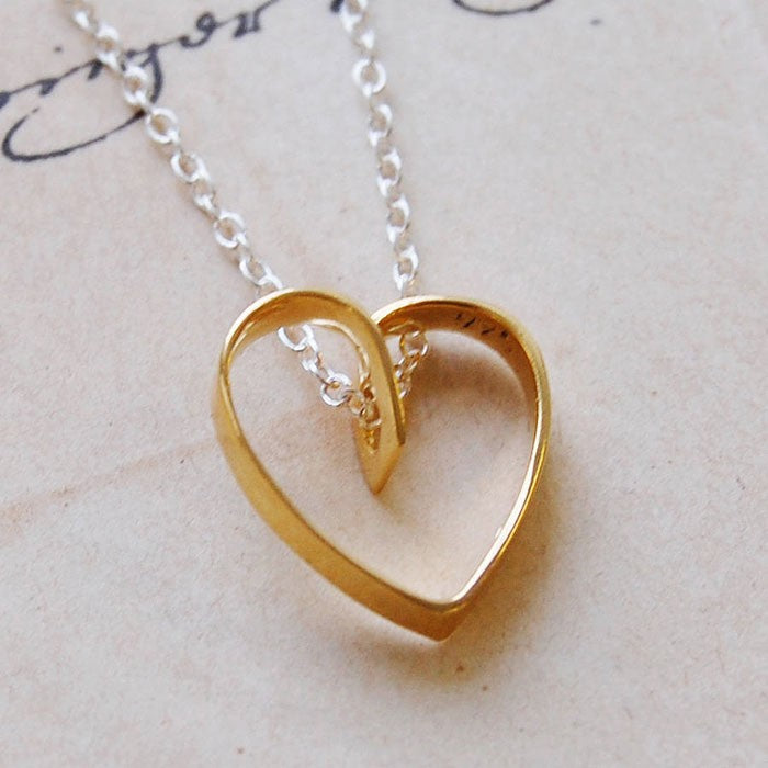 Lace Gold Heart Pendant Necklace