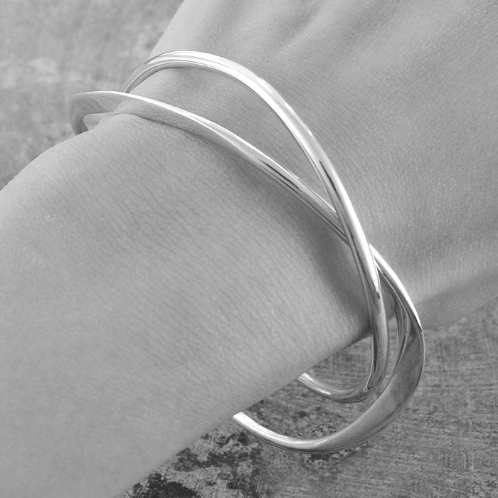 Interwoven Contemporary Silver Bangle - Otis Jaxon Silver Jewellery