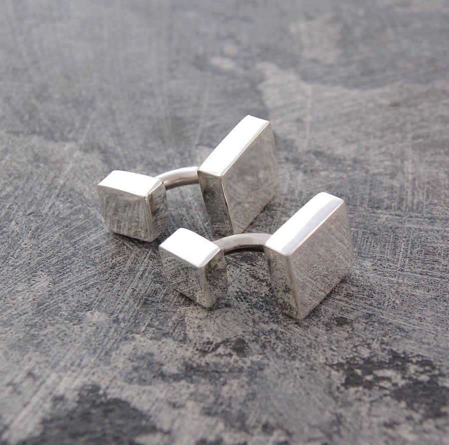 Square Geometric Silver Cufflinks