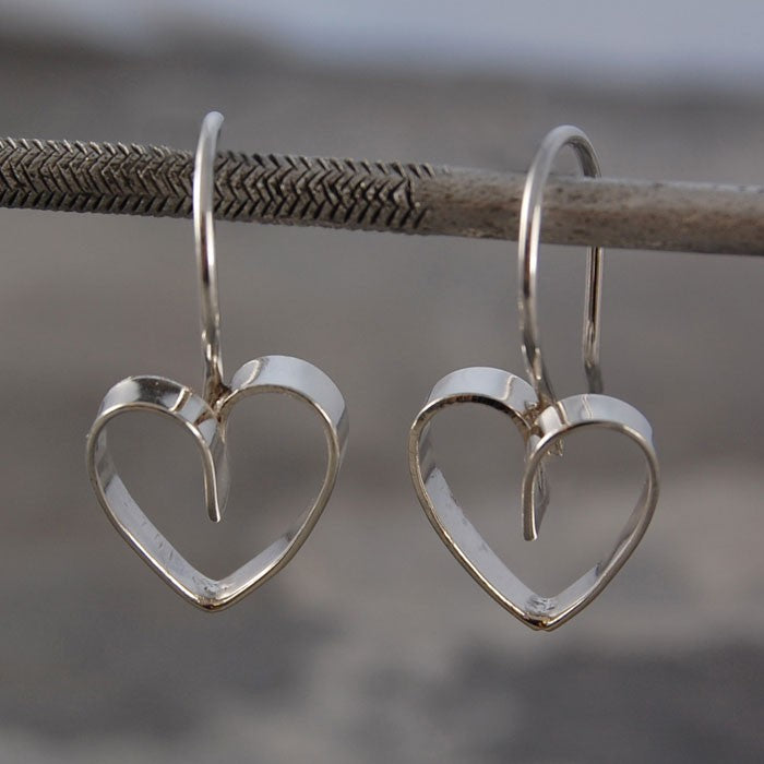 Silver Lace Heart Drop Earrings