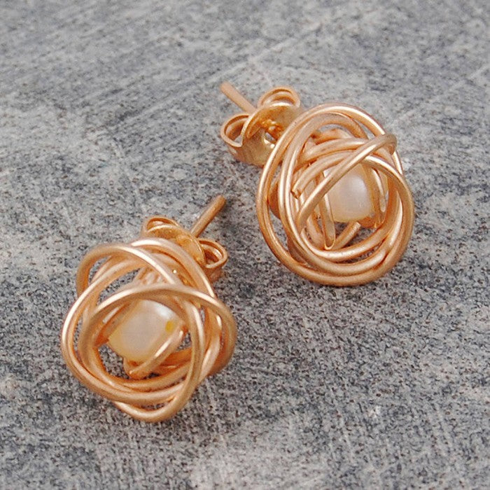 Caged Pearl Rose Gold Stud Earrings in White