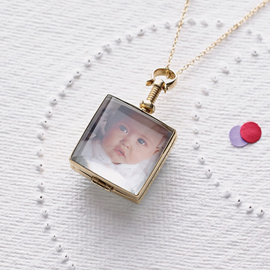 Square Gold Locket - Otis Jaxon Silver Jewellery