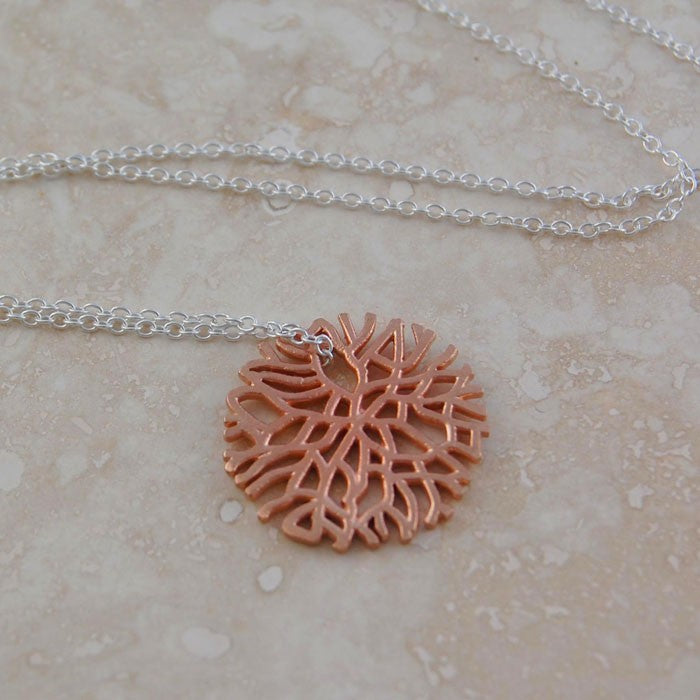 Silver and Rose Gold Snowflake Necklace - Otis Jaxon Silver Jewellery