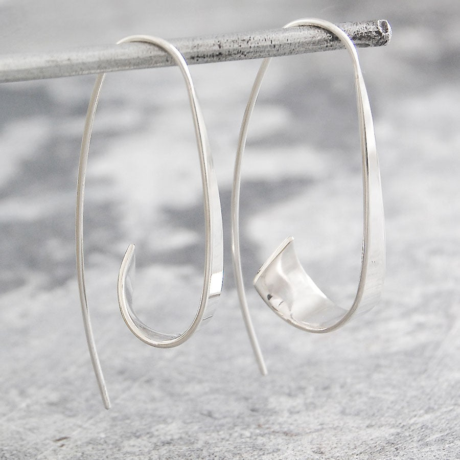Flared Ribbon Silver Hoop Earrings