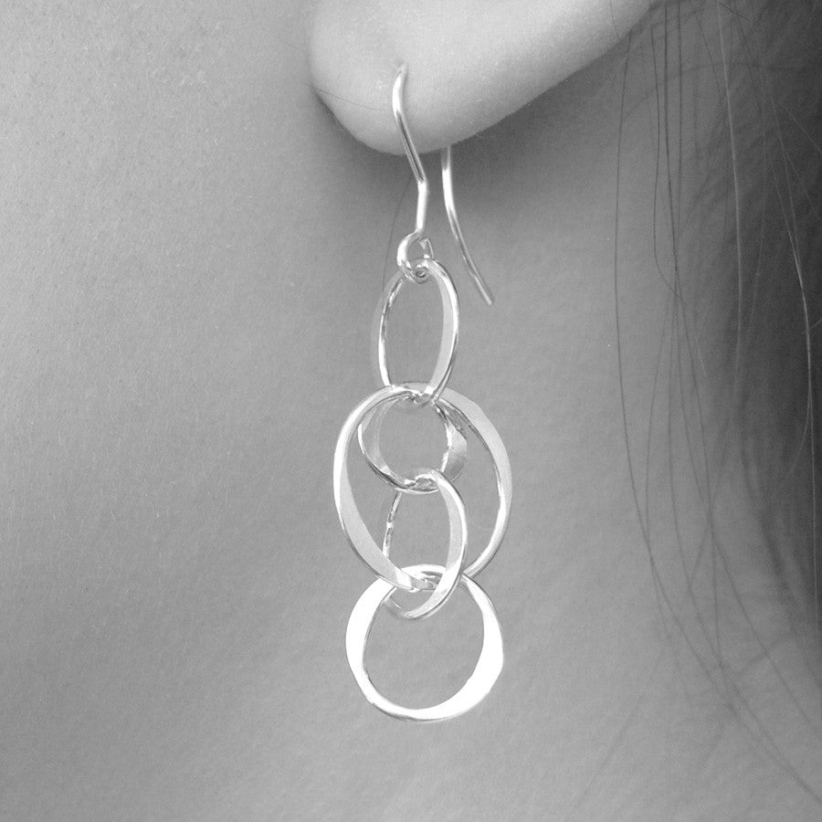Planet Silver Long Drop Earrings - Otis Jaxon Silver Jewellery
