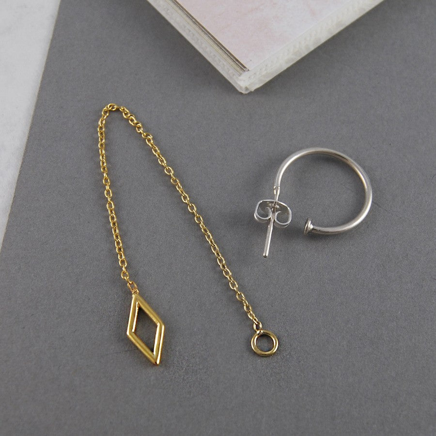 Diamond Gold Chain Earrings - Otis Jaxon Silver Jewellery