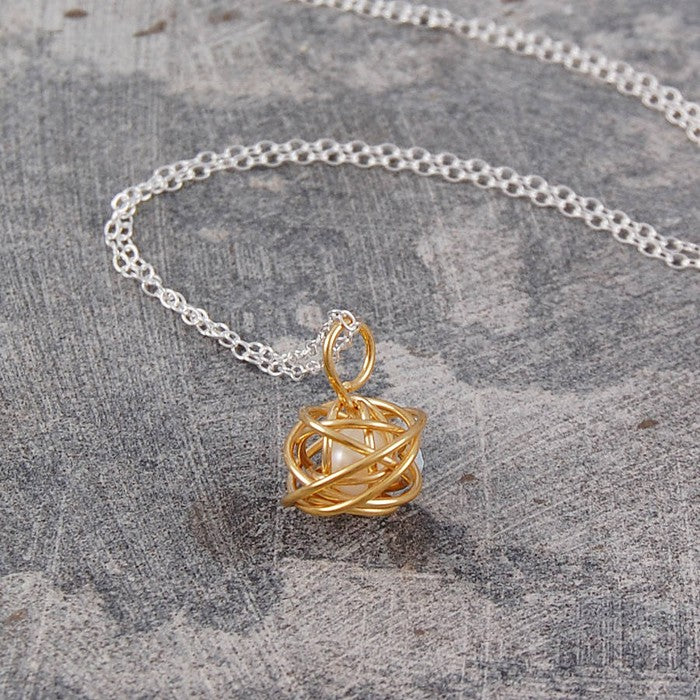Caged Pearl Gold Knot Necklace in White