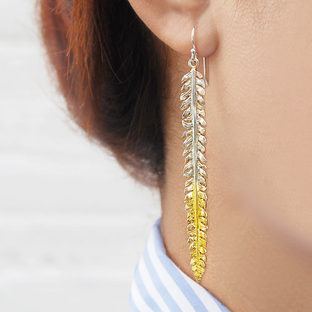 Fern Gold and Silver Drop Earrings - Otis Jaxon Silver Jewellery