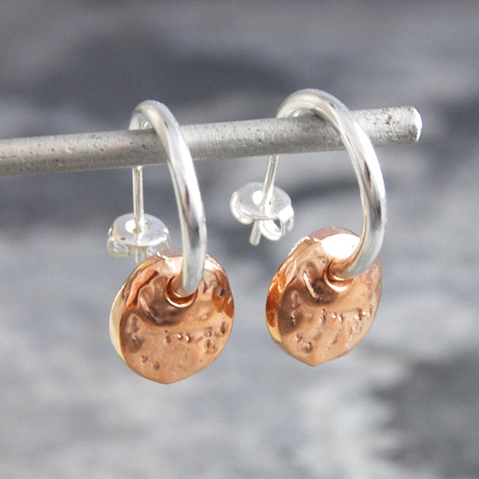 Organic Round Rose Gold Hoop Earrings - Otis Jaxon Silver Jewellery