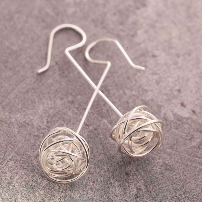 Nest Silver Drop Earrings