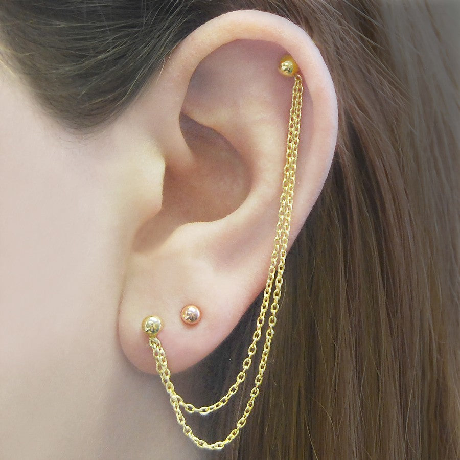 Ball Stud Gold Chain Earrings