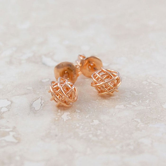 Tiny Nest Rose Gold Stud Earrings
