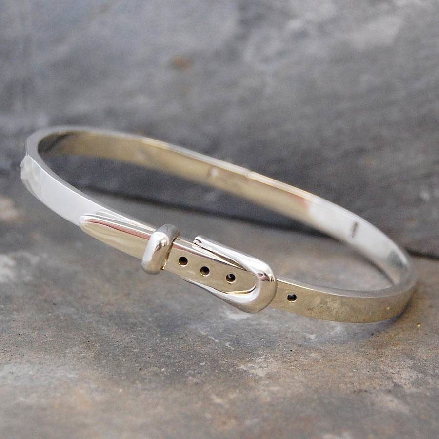 Belt Hinged Silver Bangle - Otis Jaxon Silver Jewellery