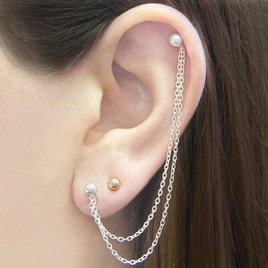 Ball Stud Silver Chain Earrings