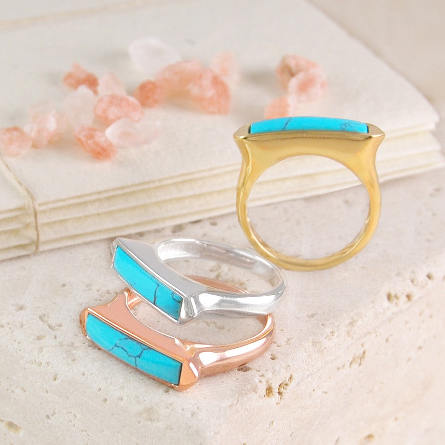 Silver and Gold Turquoise Cocktail Rings