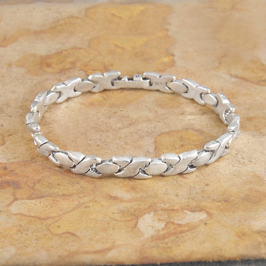 Hugs and Kisses Chunky Silver Bracelet - Otis Jaxon Silver Jewellery