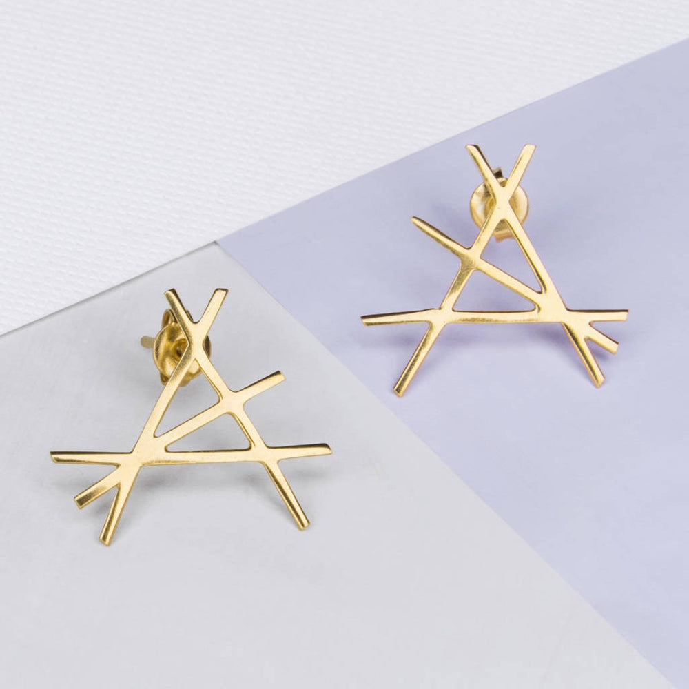 Abstract Yellow Gold Stud Earrings