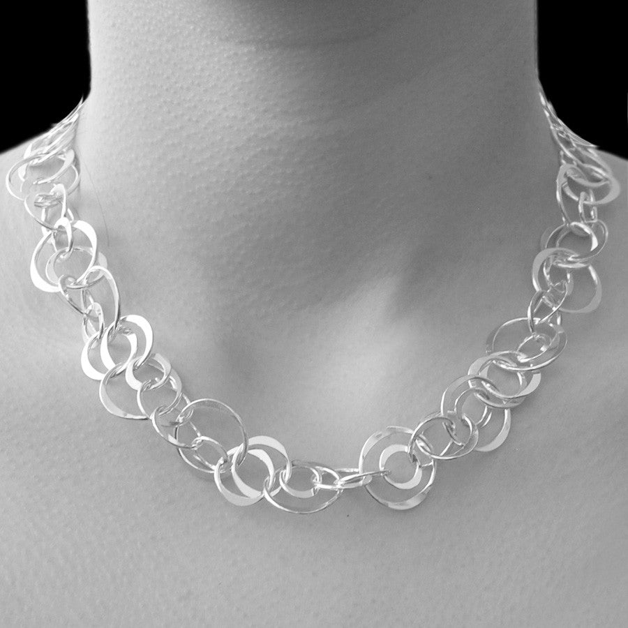 Planet Contemporary Silver Necklace