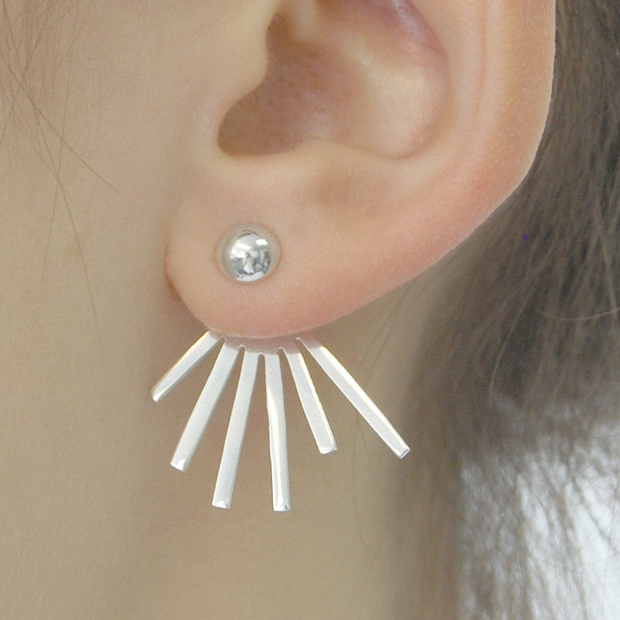 Sunray Silver Ear Jackets - Otis Jaxon Silver Jewellery