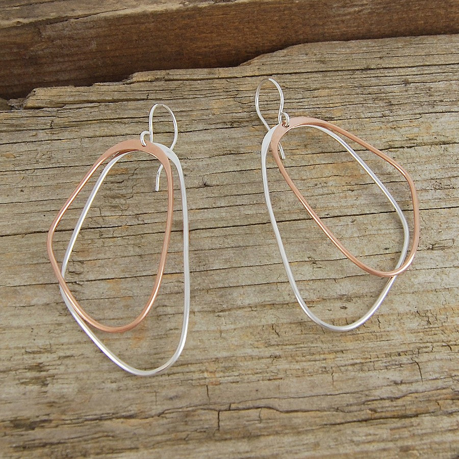 Silver and Rose Gold Long Drop Earrings