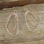Silver and Rose Gold Long Drop Earrings - Otis Jaxon Silver Jewellery
