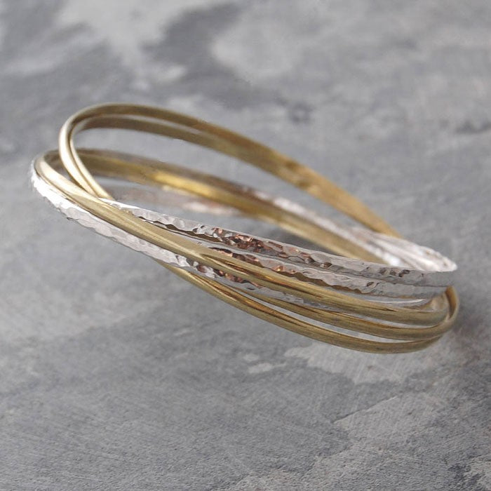 Gold and Silver Russian Bangle - Otis Jaxon Silver Jewellery