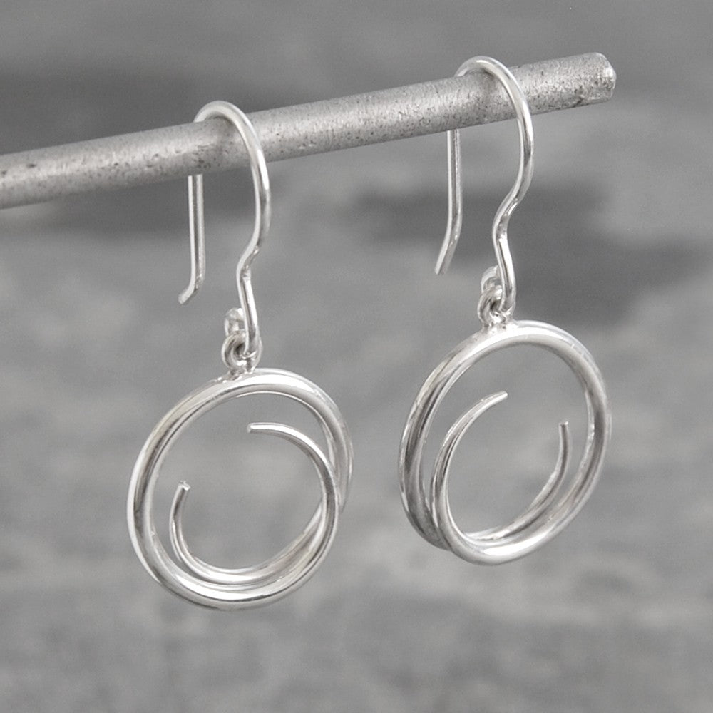 Tapered Round Silver Drop Earrings-Otis Jaxon Silver Jewellery
