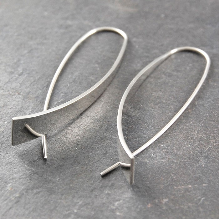 Elliptical Silver Drop Earrings