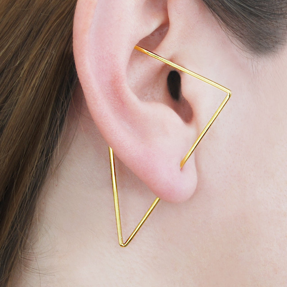 Gold Triangle Ear Cuffs - Otis Jaxon Silver Jewellery