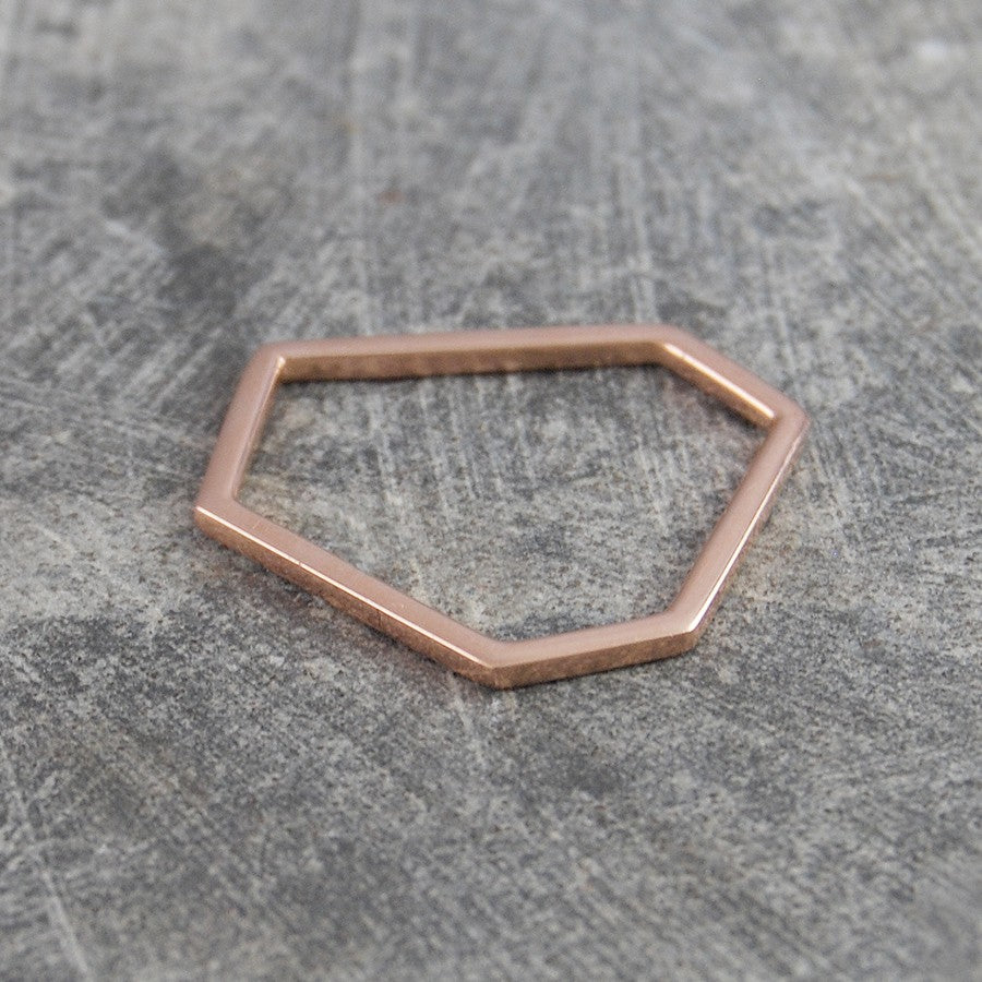 Hexagon Geometric Contemporary Rose Gold Ring