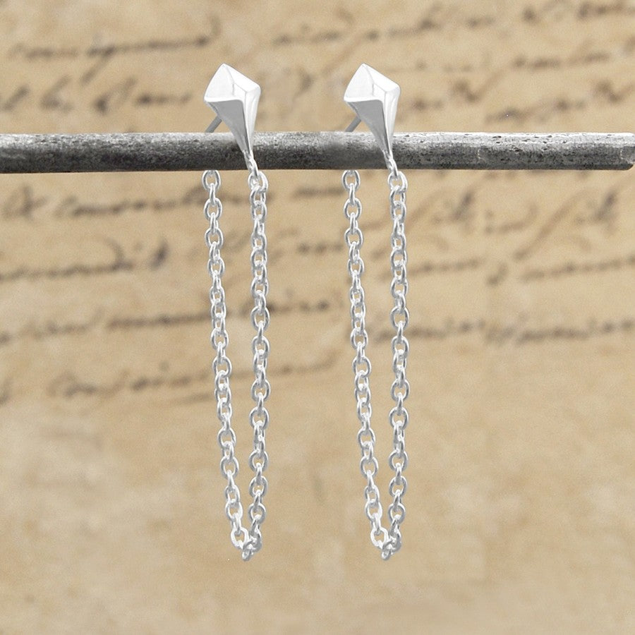 Diamond Silver Chain Earrings