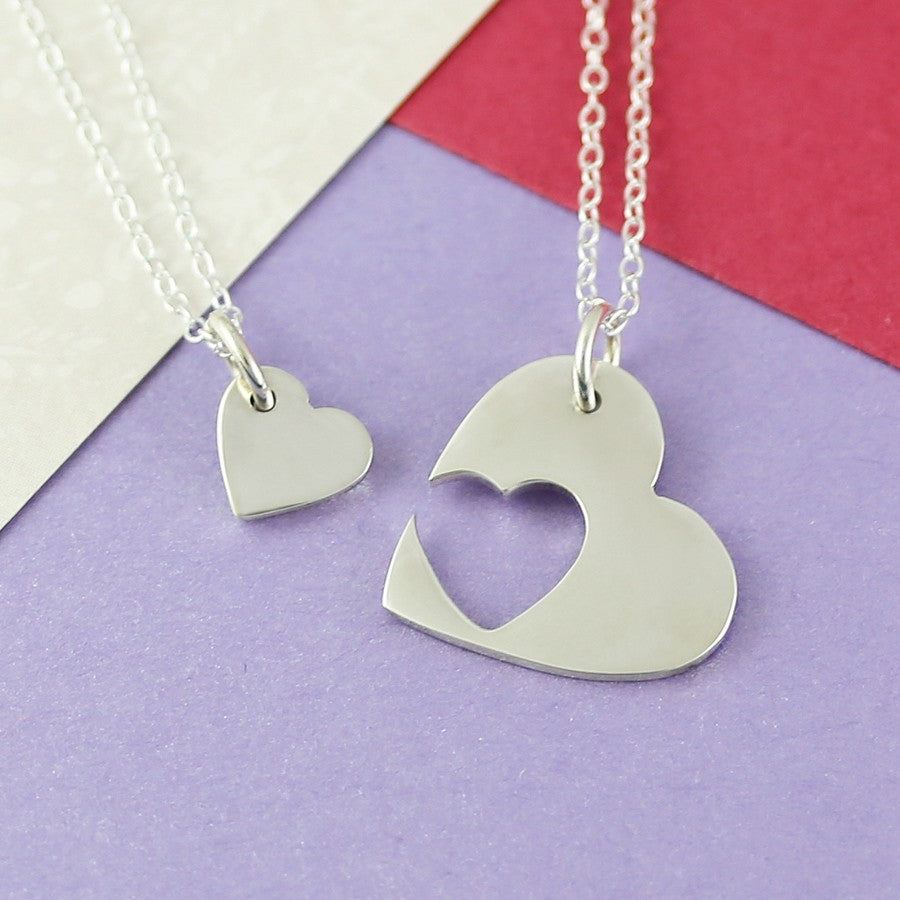 Double Silver Heart Necklace