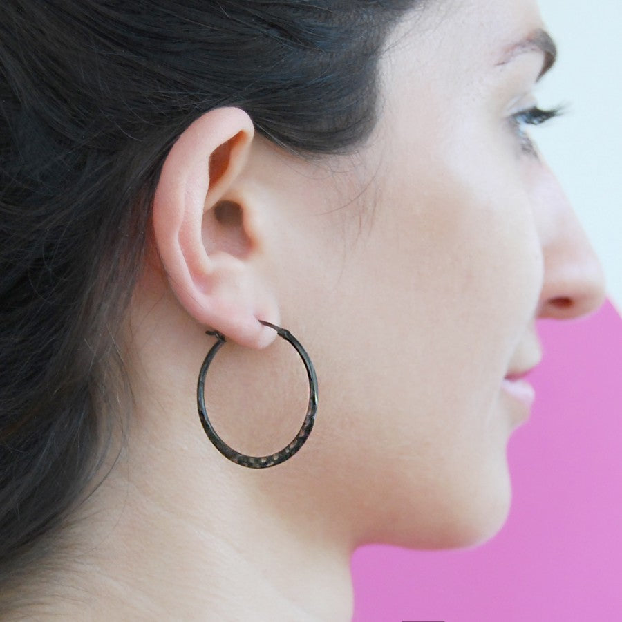 Oxidised Silver Small Hoop Earrings - Otis Jaxon Silver Jewellery