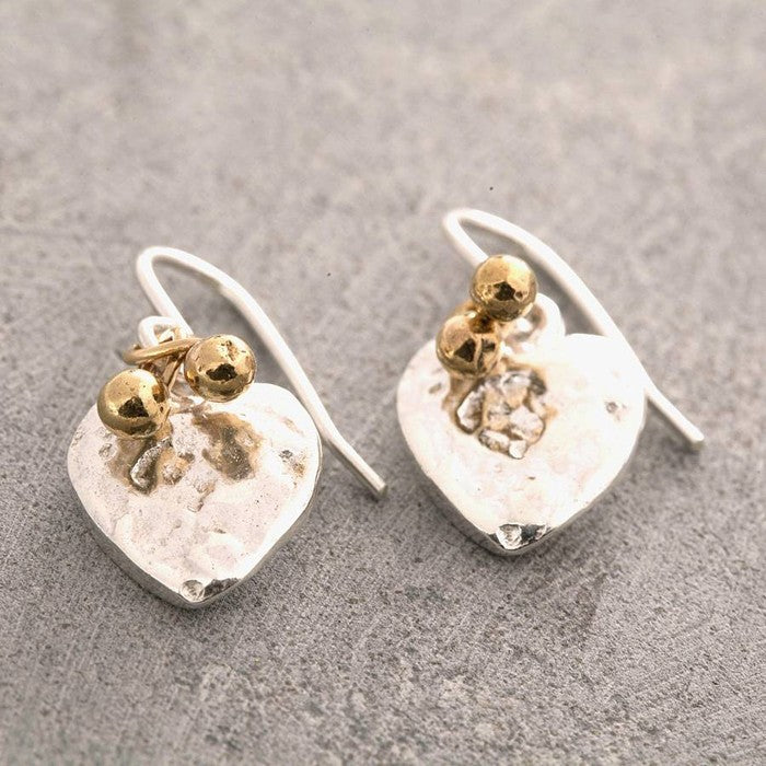 Organic Heart Silver Drop Earrings with Gold Beads - Otis Jaxon Silver Jewellery