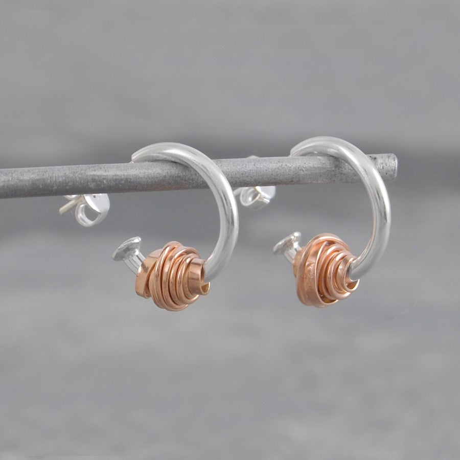 Coiled Rose Gold Hoop Earrings