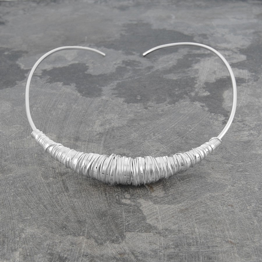 Silver Wire Chunky Choker Necklace