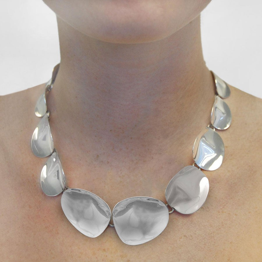 Petal Silver Chunky Statement Necklace