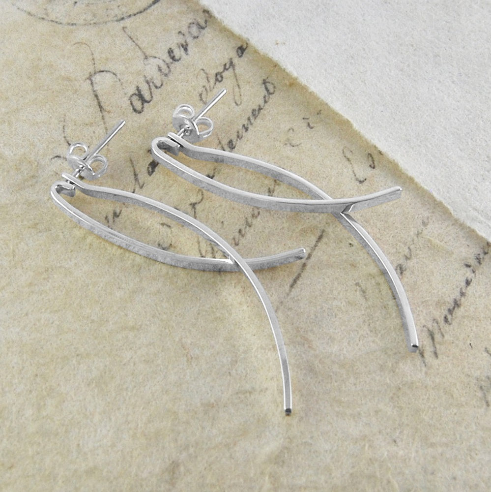 Curved Silver Ear Jacket - Otis Jaxon Silver Jewellery