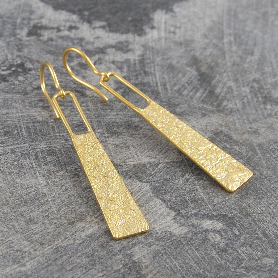 Hammered Grecian Long Drop Silver Earrings